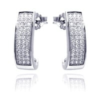 Sterling Silver Clear Round Rectangle Stud Earrings