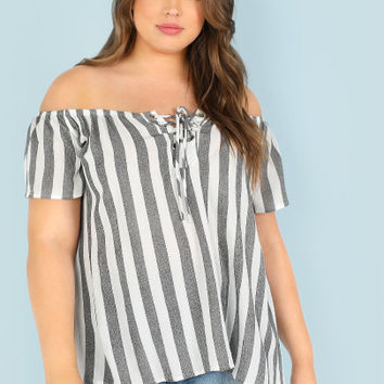 Plus Off Shoulder Stripe Tunic Blouse