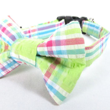 Designer Dog Collar and bow tie -Lime Green Plaid with matching bow tie - Spring dog collar, green dog collar, cute dog collar