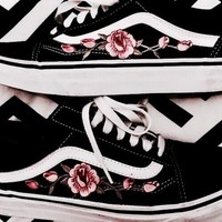 Vans Casual Roses Embroider Shoes Men And Women Cloth Shoes I-CSXY