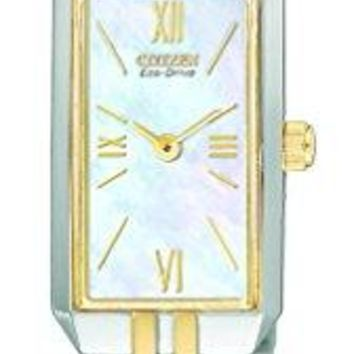 Citizen Ladies' Stainless Steel Two-Tone Watch with Mother of Pearl Dial
