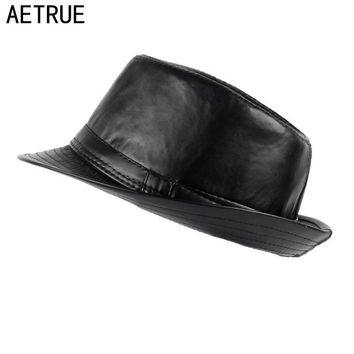 AETRUE Men Fedoras Hat Women Felt Leather Hats Men Panama Caps Gorros PU Plain Church Boater Brim Fashion Fedoras Winter Hats