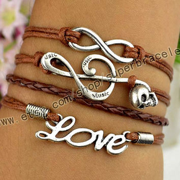 Love Bracelet, Bracelet music symbols, infinity bracelets, Antique Silver Bracelet, personalized charm jewelry friendship gift