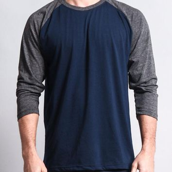 Men's Baseball T-Shirt TS900 (Navy/Charcoal) - B12C
