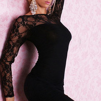 Long Sleeve Sheer Floral Lace Bodycon Mini Dress