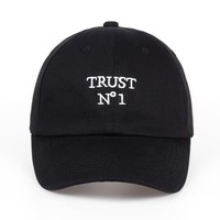 Trust No1 Black Embroidered Cotton Dad Hat