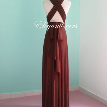 Brown Wedding Dress Bridesmaid Dress Infinity Dress Wrap Dress  Formal Dress Sexy Evening Dress Cocktail Dress Party Dress