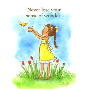 Never Lose Your Sense of Wonder - Custom Hair color - Children's Wall Art