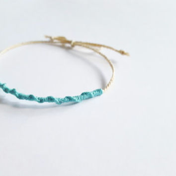 Thin simple cute bohemian chic friendship bracelet braided turquoise bar indie hippie hipster chan luu free people designer inspired