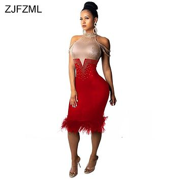 ZJFZML Sparkly Rhinestones Sexy Bodycon Dress Women Off The Shoulder Feather Design Sheath Dress Elegant Turtleneck Midi Vestido