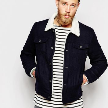 ASOS Wool Bomber Jacket With Faux Shearling Collar at asos.com