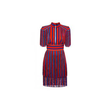 Elisabetta Franchi Mini Striped Dress With Fringe (Women's)