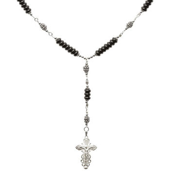 Sterling Silver 7 Sorrows Rosary Necklace Onyx 6mm, Silver Crucifix, 17""