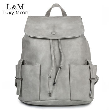Korean Women Backpack High Quality PU Leather Rucksack For Teenage Girls Casual Drawstring Solid School Backpacks mochila XA798H