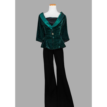 80s Peplum Jacket, Vintage 1980s Velvet Blouse, Dark Forest Green Iridescent Trim Victorian Style Top, Cocktail Party Evening, Medium