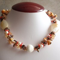 Coral and Pearl Necklace Autumn Colors Ocean Theme Sterling Findings Vintage