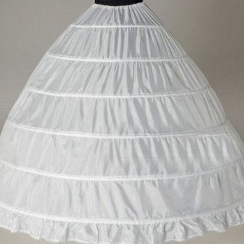 Women's White/Black 6 HOOP Wedding Dress Bridal Gown Crinoline - Free Shipping