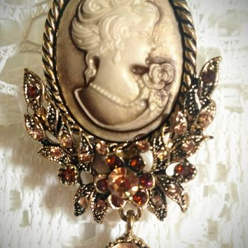 My Fair Lady Cameo Brooch Pendant - Antiqued Gold - Very Limited!