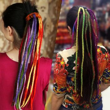Caribbean Dreadlock Pirate Wig Handmade Pure Wool Dreadlocks Hair Band DIY Fancy Dress Costume Accessory