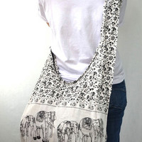 Total White Cotton Printed Standing Elephants Crossbody Shoulder Hippie Boho Hobo Messenger Bag E124