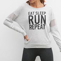 Eat Sleep Run Mesh-Paneled Top