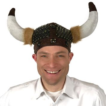Deluxe Cloth Horned Nordic Costume Viking Helmet