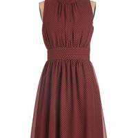 ModCloth Mid-length Halter A-line Windy City Dress in Auburn Dots