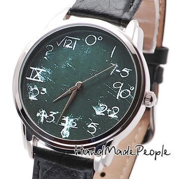 Math on Green Wristwatch, Extraordinary Wrist Watch, Men and Women Watch, Birthday Gift, Anniversary Gift, Gift For Him - Free Shipping