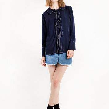 Navy Button Ties Blouse