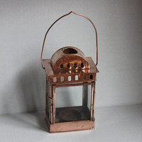 Metal Hanging Lantern, Votive Candle Holder with Handle, Vintage Copper Toned Fairy Lamp