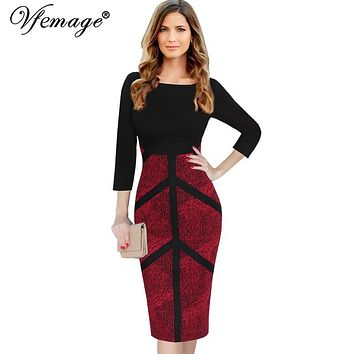 Vfemage Womens Autumn Elegant Vintage Slim Wear To Work Office Business Casual Sheath Fitted Pencil Bodycon Dress 4291