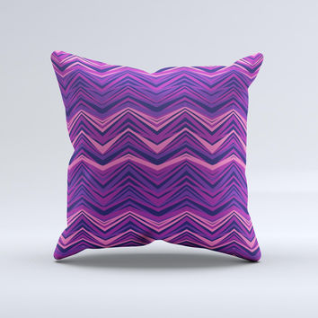 Purple and Pink Overlapping Chevron V3 ink-Fuzed Decorative Throw Pillow