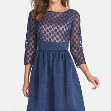 Women's Eliza J Dot Mesh Bodice Fit & Flare Dress