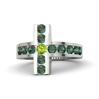 Round Peridot 14K White Gold Ring with Alexandrite