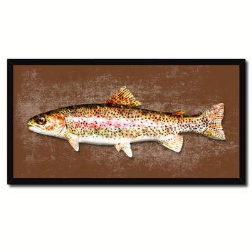 Rainbow Trout Fish Brown Canvas Print Picture Frame Gifts Home Decor Nautical Wall Art
