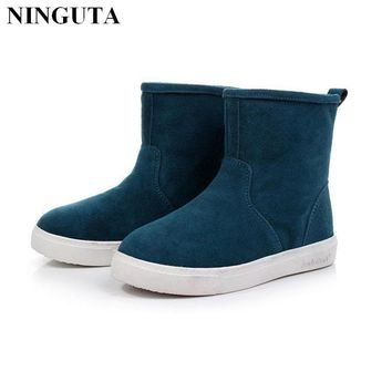 2016 hot sale women boots Genuine Leather ankle suede snow boots winter shoes for wome