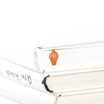 Bookmark Hot air baloon face laser cut metal powder coated Orange Stylish unique gift for book lover Free shipping.