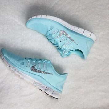 DCK7YE NIKE run free 5.0 shoes w/Swarovski Crystals detail - Green Glow/Grey - Glacier Blue