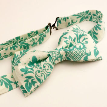 Aqua Damask Bow Tie • Pre-Tied Bow Tie • Teal Bow Tie • Geekery Mens Fashion • Teal Damask Bowtie • Gifts For Guys • Dapper Damask Tie