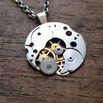 "Clockwork Pendant ""Planetoid"" Recycled Mechanical Watch Gears and Intricate Sculpture Wearable Art Not Quite Steampunk Assembly Necklace"
