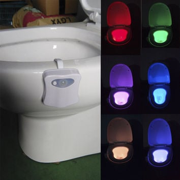 High Quality Smart LED Body Motion Sensor Nightlight 8 Color Bathroom Toilet Seat Lamp Automatic Sensor