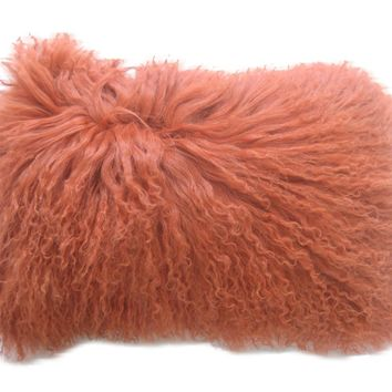 Lamb Fur Pillow Rect. Orange 100% Wool Front 100% Polyester Back