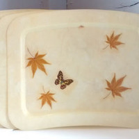 5 Vintage, Serving, Trays, Leaf,  Monarch, Butterfly