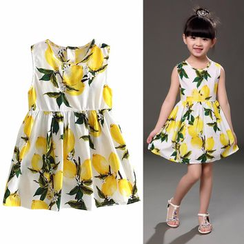 2018 Summer Girls Clothes Kids Children Dress Girl Fruit Printed Floral Dress Outfit Soft Princess Party Dresses For 2-7Y