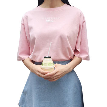 Harajuku Banana Strawberry Milk Letter Printed Female T-shirts for Women Hot Pink Casual Harf Sleeve Fashion Women Tops Tee