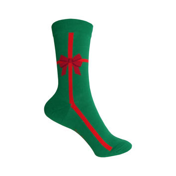 Christmas Present Crew Socks in Green with a Red Ribbon