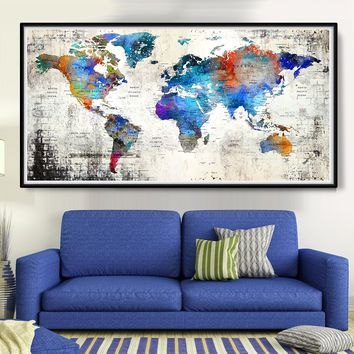 Large Push pin world map poster print, travel world map, extra large poster print, abstract wall art - L103