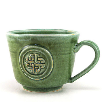 Celtic Knot Mug: Green Ceramic Coffee Mug, Unique Gaelic Scottish or Irish Pottery Gift, Pottery Gift for Men by MiriHardyPottery