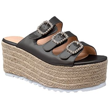 Womens Platform Sandals Wedge Flatform Slip On Rhinestone Accent Espadrilles Gray