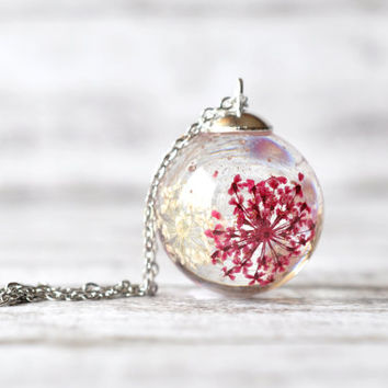 Pink and White Queen Anne's Lace Resin Pendant Necklace Sphere, Flowers In Resin Sphere, Pressed Flower Jewelry